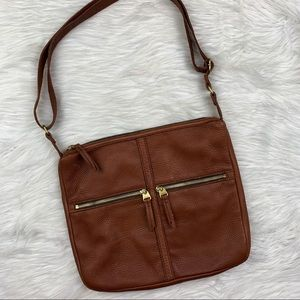 Fossil Erin Pebble Leather Large Cognac Brown Two Zip Front Pocket Crossbody Bag